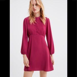 Zara Fuschia Pink Buttoned Mini Dress 2194/842